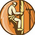 Power Lineman Electrician Climbing Utility Post by Aloysius Patrimonio