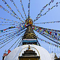 Prayer Flags And Stupa In Kathmandu by Robert Preston