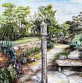 Prayer Wheel At Pacifica's Lambert Campus- Postcard by Danuta Bennett