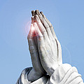 Praying Hands Lens Flare by Sally Rockefeller