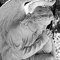 Praying Male Angel Near Infrared Black And White by Sally Rockefeller