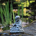 Praying Monk In Japanese Garden Close Up by Tracy Westfall