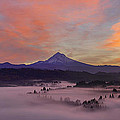 Pre Sunrise Over Mount Hood Panorama by Jit Lim