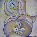 Pregnancy Oil Painting In The Belly Original By Gioia Albano by Gioia Albano