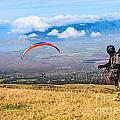 Preparing For Take Off - Paragliders Taking Off High Over Maui. by Jamie Pham
