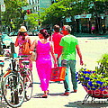 Pretty Pink Summer Dress Sunny Stroll Licari St Denis Scene Montreal Bike Racks And Flowers Cspandau by Carole Spandau