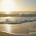 Pretty Waves At Glowing Sunrise By Kaye Menner by Kaye Menner