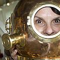 Pretty Woman In Copper Helmet by Carl Purcell