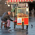Pretzel Seller With Pushcart Istanbul Turkey by Imran Ahmed