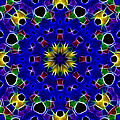 Primary Colors Fractal Kaleidoscope by Kathy Clark