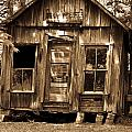 Primative Post Office Cabin In Sepia by Douglas Barnett