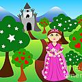 Princess And Castle Landscape by Sylvie Bouchard