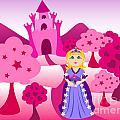 Princess And Pink Castle Landscape by Sylvie Bouchard