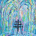 Pms 19 My Will Be Done Fountain And Triple Cross by Anne Cameron Cutri