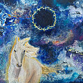 Prophetic Message Sketch Painting 6 Ring Of Lightning White Horse by Anne Cameron Cutri
