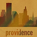 Providence Rhode Island City Skyline Watercolor On Parchment by Design Turnpike