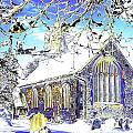 Psychedelic English Village Church In Winter by Peter Lloyd