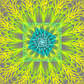 Psychedelic Spiral Vortex Yellow And Gray Fractal Flame by Keith Webber Jr