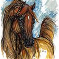 Psychodelic Chestnut Horse Original Painting 2 by Angel Ciesniarska