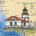Pt Bonita Lighthouse Ca Nautical Chart Map Art by Cathy Peek