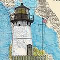 Pt Montara Lighthouse Ca Nautical Chart Map Art Cathy Peek by Cathy Peek