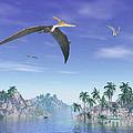 Pteranodon Birds Flying Above Islands by Elena Duvernay