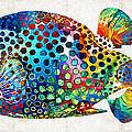 Puffer Fish Art - Puff Love - By Sharon Cummings by Sharon Cummings