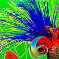 Puffy Bloom W Bee In Rainbow by Olivia Novak