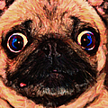 Pug Dog - Painterly by Wingsdomain Art and Photography