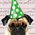 Pug In A Party Hat by Kelly McLaughlan