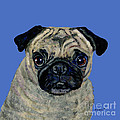Pug On Blue by Dale Moses