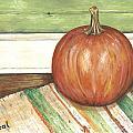 Pumpkin On A Rag Rug by Carol Neal