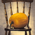 Pumpkin On Chair by Amanda Elwell