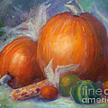 Pumpkins And Corn by Carolyn Jarvis