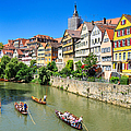 Punts On River Neckar In Lovely Old Tuebingen Germany by Matthias Hauser
