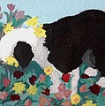 Puppy Stops To Eat The Flowers by Cathy Howard