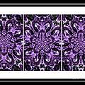 Purple Abstract Flower Garden - Kaleidoscope - Triptych by Barbara Griffin