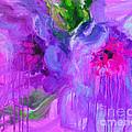 Purple Abstract Peonies Flowers Painting by Svetlana Novikova
