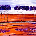 Purple And Blue Trees Abstract by Saundra Myles