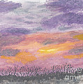Purple And Gold November Sunset In West Michiganwatercolor by Conni Schaftenaar