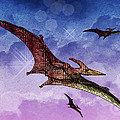 Purple And Green Ptreodactyls Soaring In The Sky by Elaine Plesser