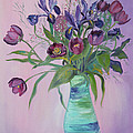 Purple Belle Bouquet  Tulips And Irises by Asha Carolyn Young