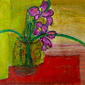 Purple Flowers With Yellow Background by Patrick Beamish