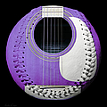 Purple Guitar Baseball White Laces Square by Andee Design