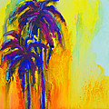 Purple Palm Trees Sunset - Modern Colorful Landscape  by Patricia Awapara