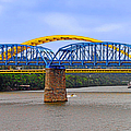 Purple People Bridge And Big Mac Bridge - Ohio River Cincinnati by Christine Till