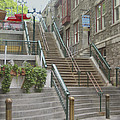 quaint  street scene  photograph THE BREAKNECK STAIRS of QUEBEC CITY   by Ann Powell