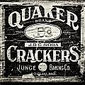 Quaker Crackers Rustic Sign For Kitchen In Black And White by Lisa Russo