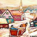 Quebec City Street Scene Caleche Ride In The Village by Carole Spandau