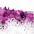 Quebec Skyline In Pink Watercolor On White Background by Pablo Romero